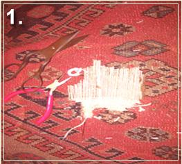 rug repair: rug hole recovery step of repairing - step 1
