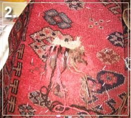 rug repair: rug hole recovery step of repairing - step 2
