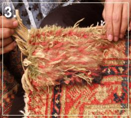 rug repair: rug reweaving step of repairing - step 3