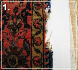 rug repair: rug hole reweaving step of repairing - step 1