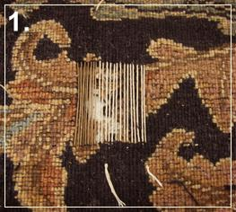 rug repair: rug reweaving step of repairing - step 1