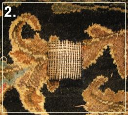 rug repair: rug reweaving step of repairing - step 2
