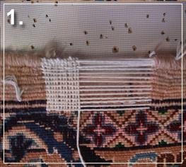 rug repair: reweaving step of rug repairing - step 1