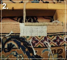 rug repair: reweaving step of rug repairing - step 2