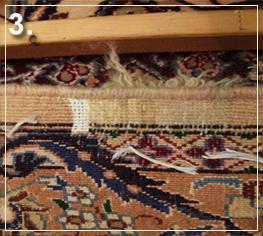 rug repair: reweaving step of rug repairing - step 3